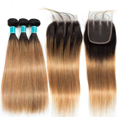 Image of 1b/27 peruvian hair bundles with closure sale