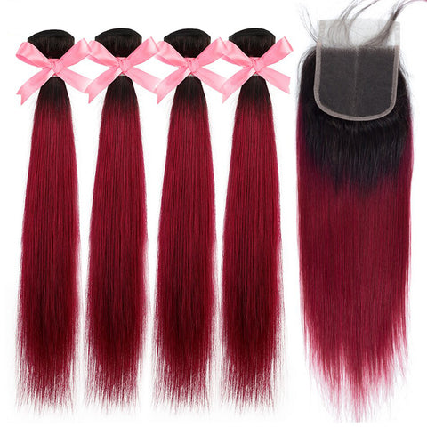 Colored Bundles With Closure T1b/Burg Ombre Peruvian 4 Hair Bundles With Closure Straight Human Hair