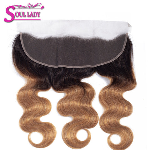 Image of 2 tones brazilian human hair 13x4 lace frontal