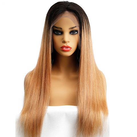 Soul Lady 1B/27 Ombre Peruvian 13x4 Lace Frontal Wigs Straight Human Hair 180% Density
