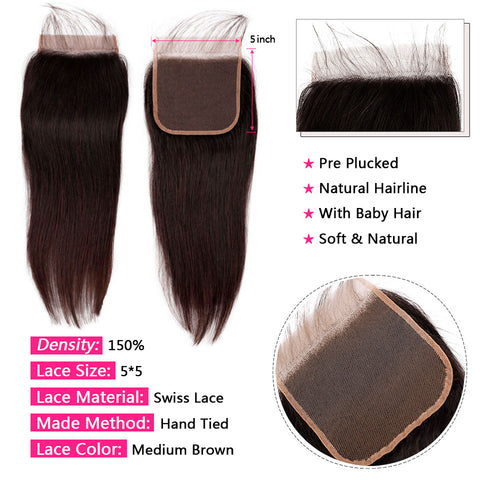 Image of Straight Peruvian Hair Bundles with Closure 100% Human Hair Weave 3 Bundles with 5*5 Swiss Lace Closure