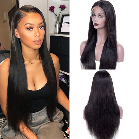 150% Density 13x4 Long Brazilian Straight Lace Front Wig with Baby Hair