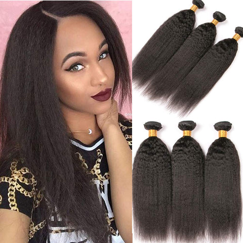 Image of Soul Lady Peruvian Kinky Straight Virgin Hair 3 Bundles Human Hair Weave