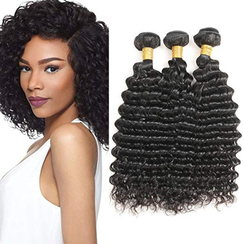 Image of Soul Lady Peruvian Deep Curly Virgin Hair 3 Bundles Human Hair Weave