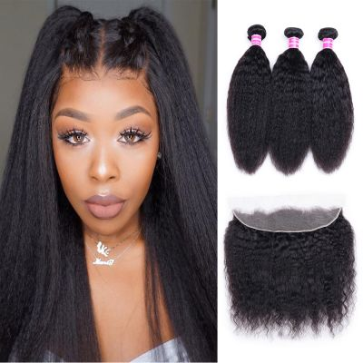 Image of Soul Lady Peruvian Kinky Straight 3 Bundles With Lace Frontal Closure 13X4 Inch Raw Virgin Hair