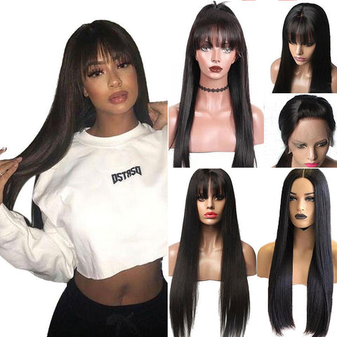 Image of Long Straight Brazilian Remy 13x6 Lace Front Wig with Bangs