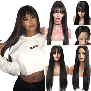 Long Straight Brazilian Remy 13x6 Lace Front Wig with Bangs
