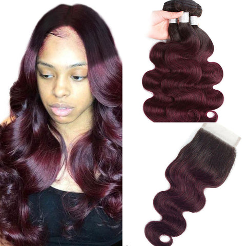 Image of Ombre 1b 99j  Peruvian 3 Bundles With Closure 4Pcs Ombre Body Wave