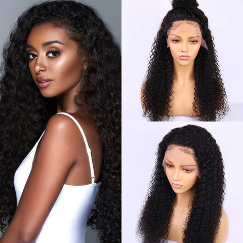 Image of Kinky Curly 13x4 Brazilian Virgin Human Hair Lace Front Wig 150% Density