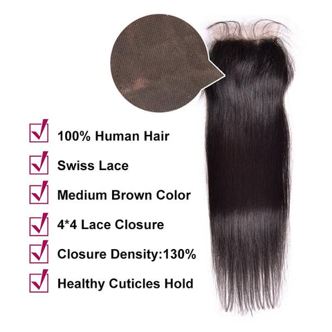 Image of Soul Lady Peruvian Straight Hair 4 Bundles With 4x4 Lace Closure Human Hair