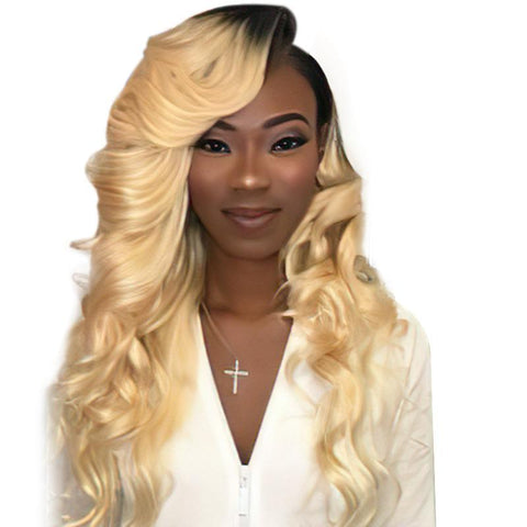 Image of Soul Lady Body Wave Ombre 613 Blonde Brazilian 4 Bundles With Lace Frontal Closure