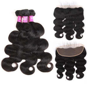 Body Wave 3 Bundles Brazilian Human Hair with 13x4 Lace Closure - soulladyhair