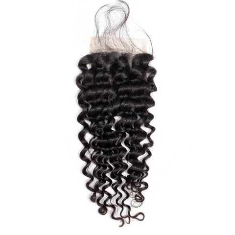 Image of Soul Lady New Arrived 4 Bundles Indian Deep Wave Hair With 4x4 Lace Closure For Women