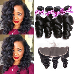 Soul Lady Loose Wave 13x4 Lace Frontal Closure With 3 Bundles Indian Human Hair