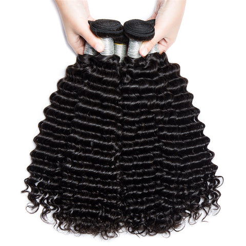 Image of Soul Lady Deep Curly 3 Bundle Deals With Lace Frontal 100% Indian Human Hair