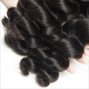 Soul Lady Malaysian Loose Wave Hair Lace Frontal Closure With 3 Bundles Best Virgin Hair