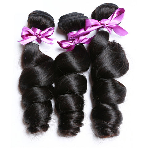 Image of Soul Lady Loose Wave 13x4 Lace Frontal Closure With 3 Bundles Indian Human Hair