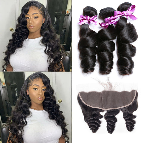 Soul Lady Loose Wave 13x4 Lace Frontal Closure With 3 Bundles Peruvian Human Hair