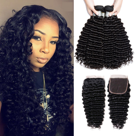 Image of Soul Lady 4x4 Deep Curly Lace Closure With 3 Bundles Peruvian Virgin Human Hair