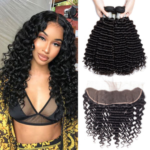 Soul Lady Deep Curly 3 Bundle Deals With Lace Frontal 100% Indian Human Hair
