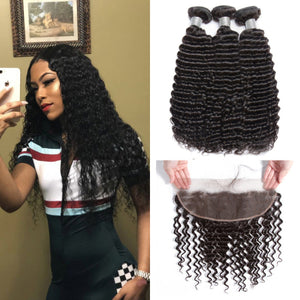 Soul Lady Freetress Malaysian Deep Curly Hair 3 Bundles With Lace Frontal Closure