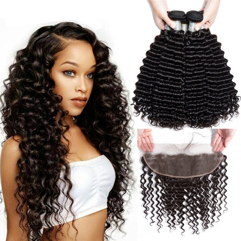 Image of Soul Lady Deep Curly 3 Bundles With 13x4 Lace Frontal Closure Peruvian Hair