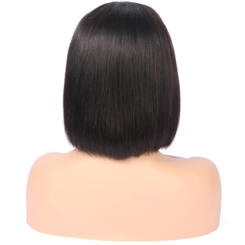 150% Density 13x4 Brazilian Short bob lace wig human hair with bangs - soulladyhair