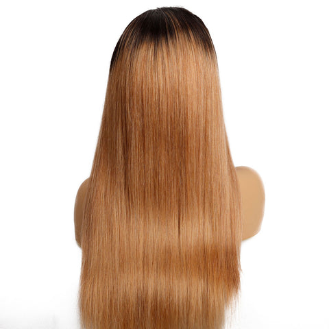 Image of Ombre Brown 13x4 Malaysian Remy Human Hair Wig 210% Density