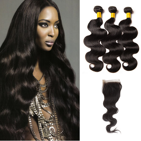 Image of Soul Lady Indian Free Part 4x4 Transparent Lace Closure With Straight 3 Bundles