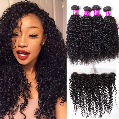 Image of Soul Lady Affordable Jerry Curly Malaysian Hair 3 Bundles With 13x4 Lace Frontal Closure