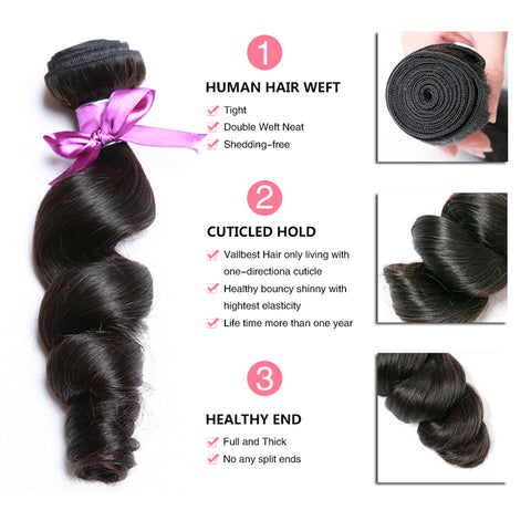 Soul Lady Vietnam Loose Wave Hair 3 Bundle Deals With Ear to Ear Lace Frontal Closure