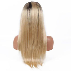 Ombre blonde long straight 13x4 lace front wig virgin human hair - soulladyhair