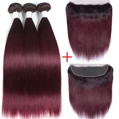 Image of Ombre burgundy Brazilian 3 bundles hair with 13x4 lace frontal human hair - soulladyhair