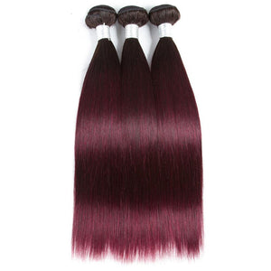 Ombre burgundy Brazilian 3 bundles hair with 13x4 lace frontal human hair - soulladyhair