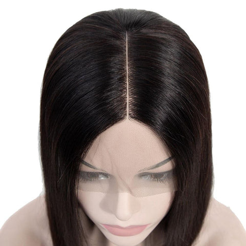 Image of Short straight bob 13x4 lace front wig virgin human hair for sale - soulladyhair