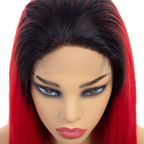 Image of 4x4 Pre Plucked Ombre Red Indian Human Hair Lace Front Wigs - soulladyhair