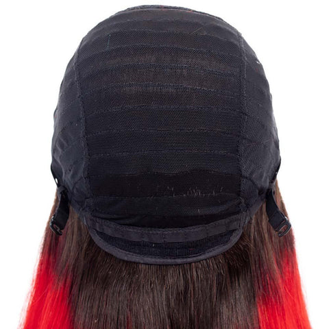 4x4 Pre Plucked Ombre Red Indian Human Hair Lace Front Wigs - soulladyhair