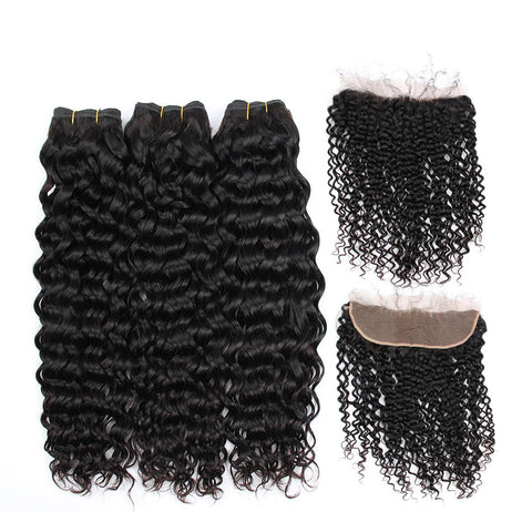Image of deep wave hair bundles with frontal near me