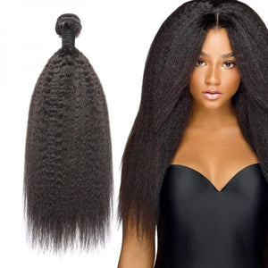 Soul Lady Malaysian Kinky Straight Lace Closure With 3 Bundles Virgin Human Hair