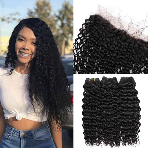 Image of Soul Lady Deep Wave Brazilian Hair 3 Bundles With 13x4 Lace Frontal Closure