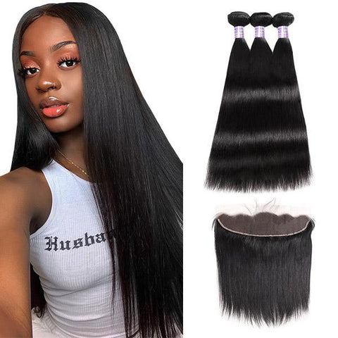Soul Lady Malaysian Straight 13x4 Lace Frontal With Human Hair 3 Bundles