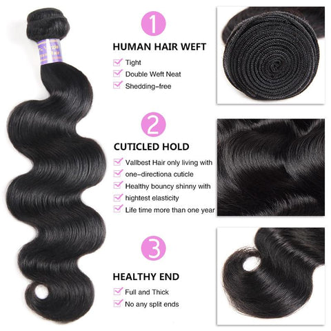 Image of Soul Lady Brazilian Body Wave Virgin Hair 3 Bundles Human Hair Weave