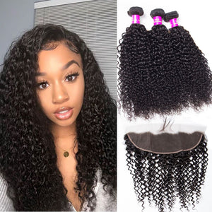 Soul Lady Indian Jerry Curly Hair Free Part 13x4 Lace Frontal Closure With 3 Bundles