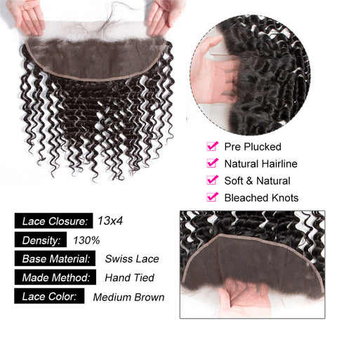 Image of Soul Lady Vietnam Deep Curly Human Hair 3 Bundles With 13x4 Lace Frontal Closure