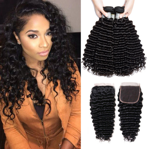 Image of Soul Lady Best Lace Closure With 3Bundles Deep Curly Vietnam Human Hair