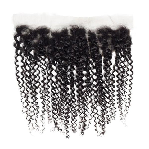 Image of Soul Lady Peruvian Kinky Curly 13x4 Lace Frontal Closure With 4 Bundles Natural Color
