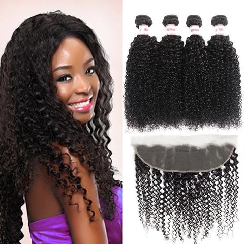 Image of Soul Lady Malaysian Lace Frontal Closure With 4 Bundles Deep Curly Human Hair