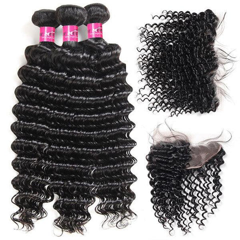 Image of Soul Lady Deep Wave 3 Bundles Hair Weave With Lace Frontal Peruvian Virgin Hair