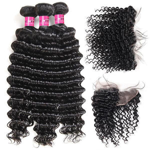 Soul Lady Deep Wave 3 Bundles Hair Weave With Lace Frontal Peruvian Virgin Hair