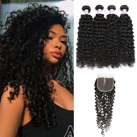 Image of Soul Lady 4x4 Lace Closure With Deep Curly 4 Bundles Vietnam Human Hair